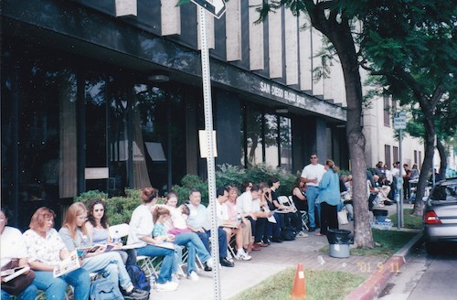 Blood donors waiting to donate on September 11, 2001