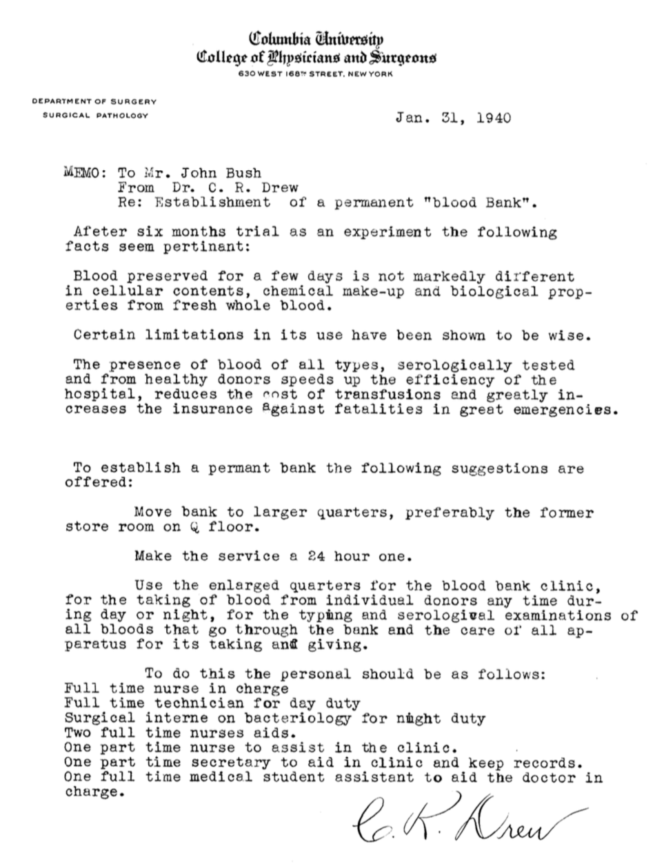 Memo from Dr. Charles Drew to a colleague