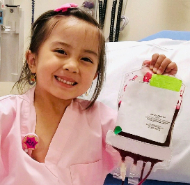 Kamila is a blood recipient and grateful for financial donor support of critical supplies.